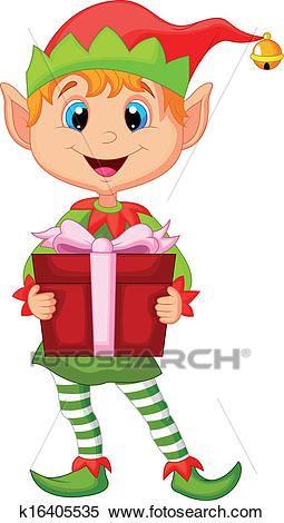 Cute christmas elf cartoon holding Clipart  4c492118715