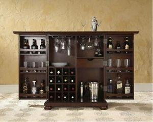 Home Dry Bar Furniture Expandable Mini Cabinet Wine Racks Storage Counter. Like how it can be secured easily.