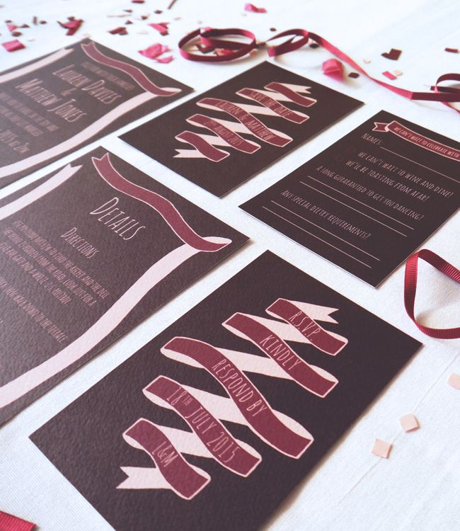 The Ribbon collection in Raspberry features lovely hand drawn details, ideal for a rustic or DIY style wedding. mint&mustard wedding stationery