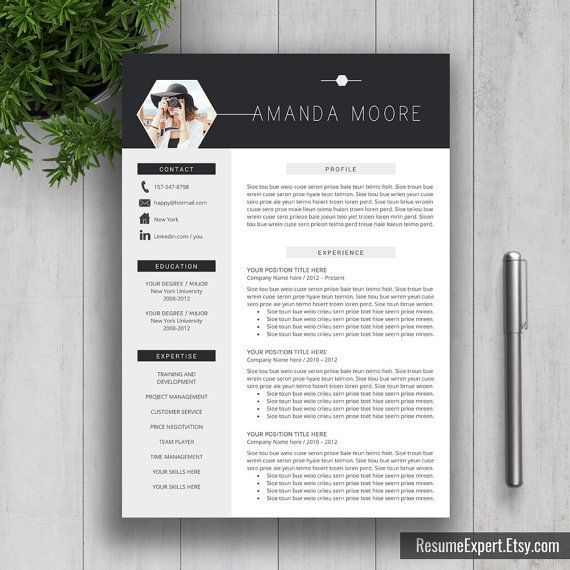 Creative Professional Resume Template / CV Template + Cover Letter Word (US Letter, A4), Modern Resume Design, Instant Download, Amanda M