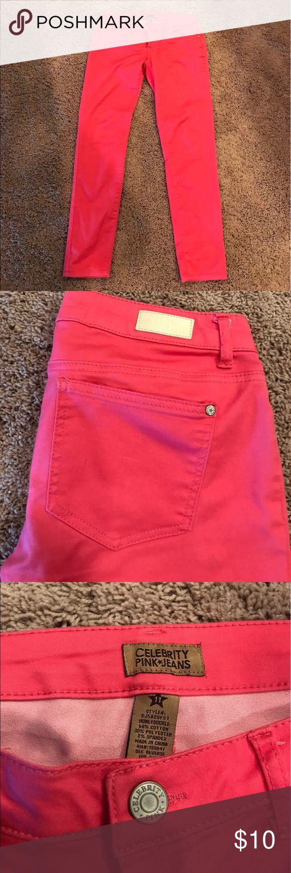 Coral skinny jeans Worn once. Like new! No stains, rips, or wear. Coral. Skinny. Celebrity Pink Jeans Skinny