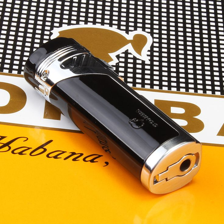 Luxury Portable Four Torch Jet Flame Air inflation Black Cigar Lighter W/ Gift Box CL-86