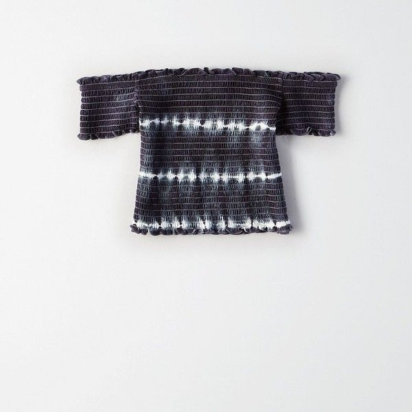 AE Smocked Tie-Dye Crop Top ($25) ❤ liked on Polyvore featuring tops, grey, off-shoulder tops, short sleeve tops, fitted off the shoulder tops, crop tops and grey top