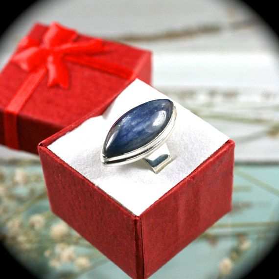 Blue Kyanite ring sterling silver ring size 8 1/4