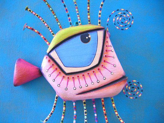 Pescados de la pared arte Leucomas rosa pequeño objeto