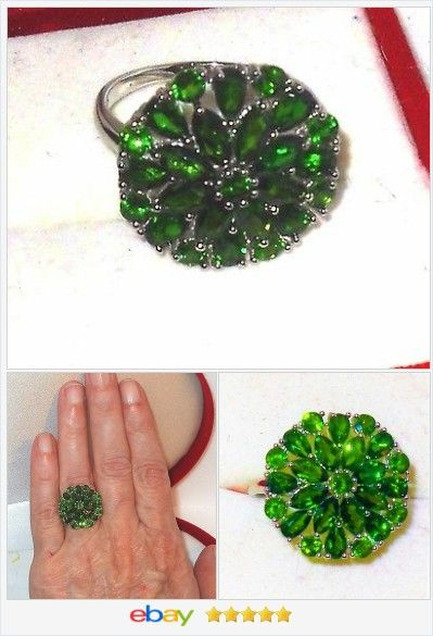 Russian Chrome Diopside ring 6.00 ctw size 9 Sterling USA Seller 50% OFF #EBAY http://stores.ebay.com/JEWELRY-AND-GIFTS-BY-ALICE-AND-ANN