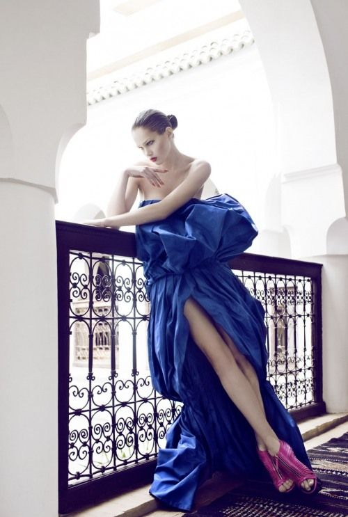 Elena Lomkova by Signe Vilstrup for vanity fair: Cobalt Couture, Gownscocktail Dresses, Style, Editorial, Cobalt Blue, Glamour Girls, Bold Color, Pink Shoes, Fashion Photography
