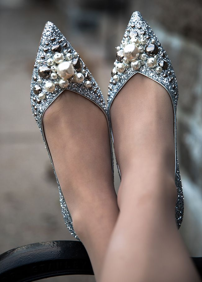 Silver, glittery, pearl-embellished, pointy-toed Miu Miu flats. Classy Girls Wear Pearls: We Love Christmas a Latte.