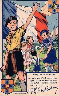 French Vichy facist propaganda aimed at children, pin by Paolo Marzioli