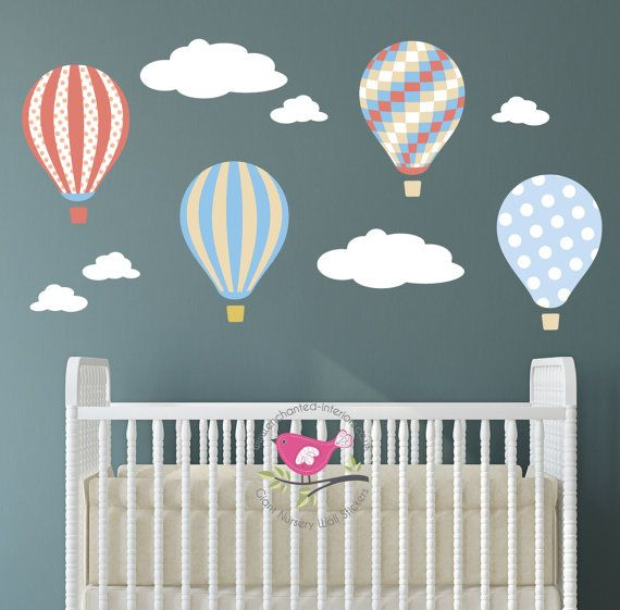 Kids wall decal hot air balloons baby decor gender neutral nursery mural wall stickers girl boy bedroom decoration coral beige blue