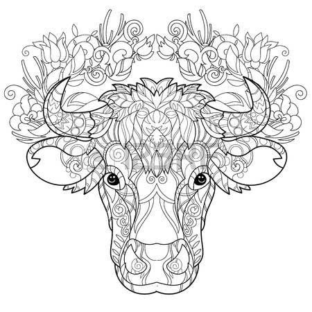 coloring pages print: Mano doodle cabeza de vaca contorno decorado con ornaments.Vector ornamento illustration.Floral zentangle.