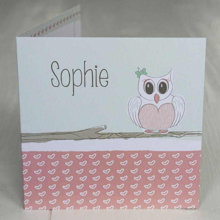 Geboortekaart Sophie - www.blitzontwerpt.nl - uil - hartjes - mint - roze - koraal -koraalroze - handmade - meisje - baby meisje - geboren - Birth announcement - owl - girl - heats - pink - mint - baby girl - baby - girl - born