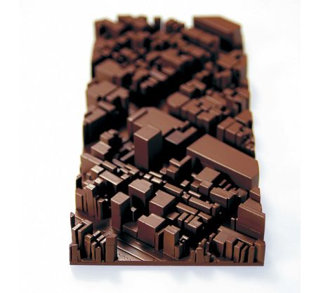 This chocolate bar is actually a 3D map sculpture of Tokyo.