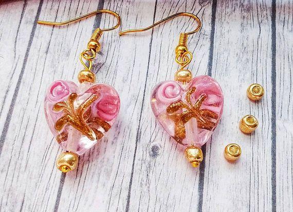 Glass Heart Earrings Lampwork Earrings Pink Heart Earrings