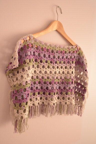 Green Lila Purple Vanilla Grey Crochet Poncho - Fringed Vest, Bolero, Shawl - Spring Top - Tie Dye Yarn