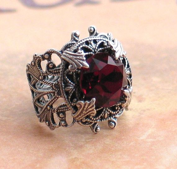 Stunning Vintage Garnet Jewel and Silver by LoreleiDesigns on Etsy, $49.00