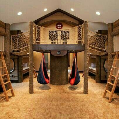 Jungle gym bunk beds