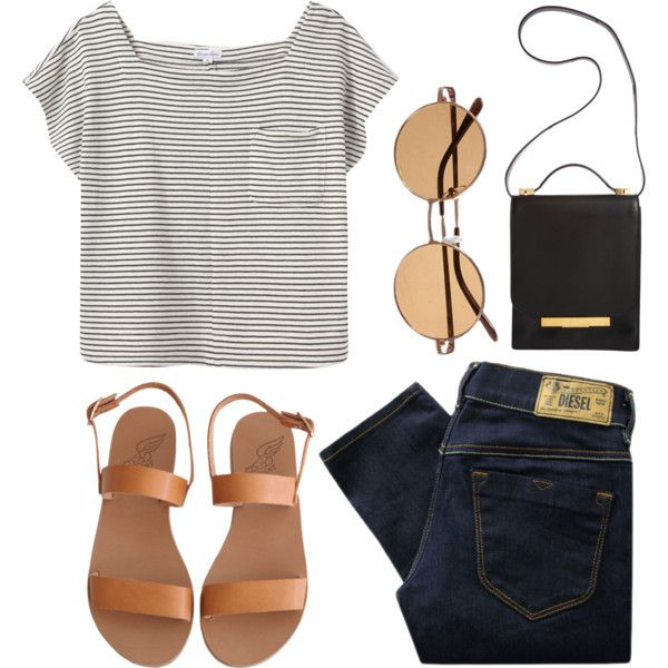 pinned-stripe shirt, simple gold accent purse, jeans, sunglasses & simple strap sandals