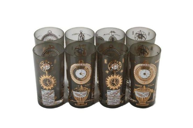 Set of Eight Georges Briard Mid Century Modern Tumblers : Pattern: International Time Zone