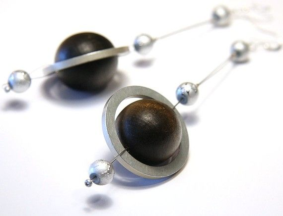 Rings of Saturn - Eco Jewelry - Planet Earrings - Eco Friendly Earring - made from computer hard drive spacer rings - Brown Silver Gray on Etsy, $42.00