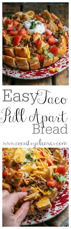 Easy Taco Pull Apart Bread - www.countrycleaver.com