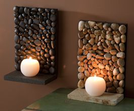 #Piedras, #Stones Piedras de río con vela River Stone mini shelves/candle holders