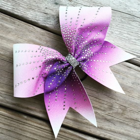 Centered ombre glitter bow with rhinestones by bragabitbows. Explore more products on http://bragabitbows.etsy.com