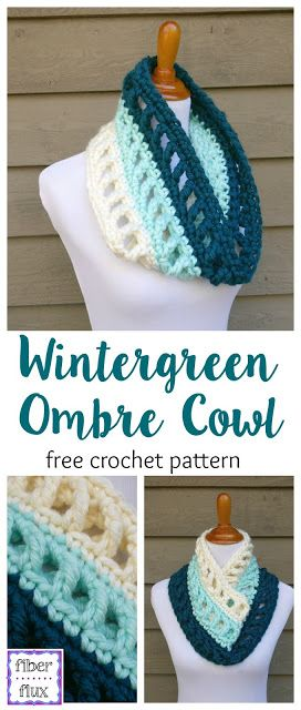 Free Crochet Pattern...Wintergreen Ombre Cowl. this would be perfect for football team colors!                                                                                                                                                                                 More