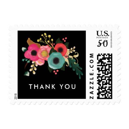 Thank You. Modern Floral Wedding Postage Stamps - thank you gifts ideas diy thankyou