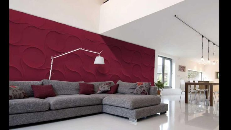 Exciting Red Textured Wall Panels Living Room With Maroon Gray Floral Cushions On Gray Fabr