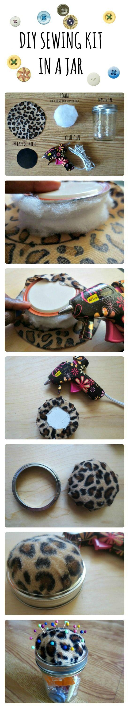 DIY Sewing Kit In a Jar #pincushion #sewingkit #sewing #masonjar