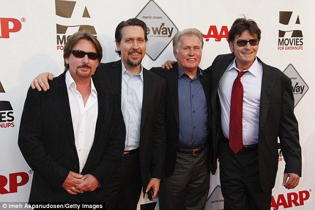 Family: Charlie Sheen (right) with brothersEmilio and Ramon Estevez and dad Martin Sheen in 2011