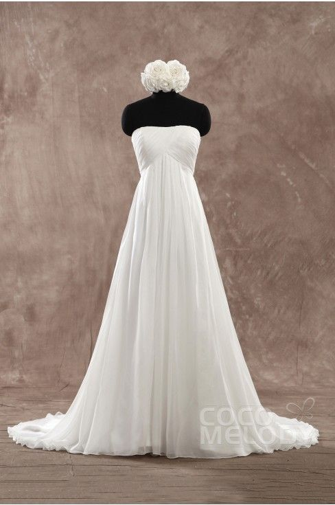 Trending A Line Sweetheart Empire Court Train Chiffon Ivory Sleeveless Lace Up Corset Wedding Dress Pleating PR