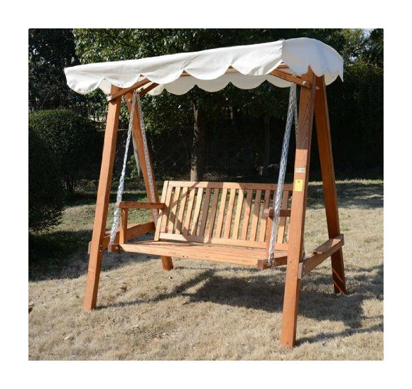 outsunny 3 seater wooden garden swing chair bench furniture cream
