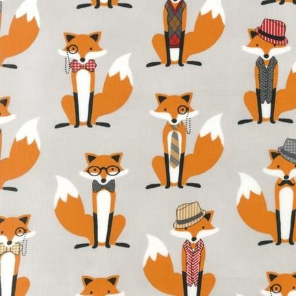 Fox fabric by Andie Hanna for Robert Kaufman- Foxes in Gray- 1 yard or by the yard on Etsy, $10.00