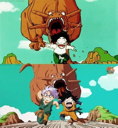 Gohan, Trunks and Goten being chased by a dinosaur.....
