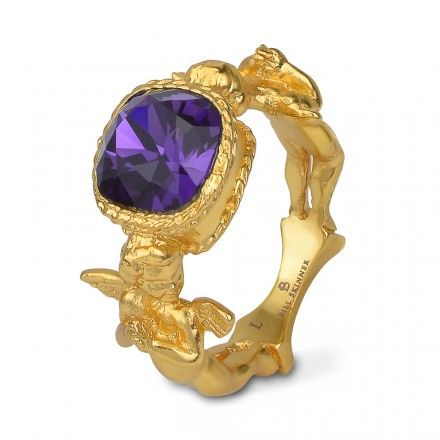 Bill Skinner Baroque cherub purple crystal ring