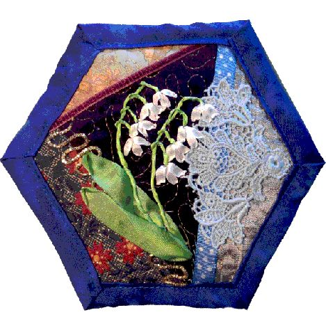 How to make a quilt as you go crazy patchwork hexagon~ silk ribbon embroidered lily of the valley flower