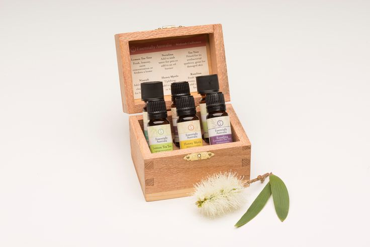 Wetlands Collection Gift Box, featuring Honey Myrtle, Niaouli, Tea Tree, Lemon Tea Tree, Nerolina, Rosalina all in 12ml sizes.