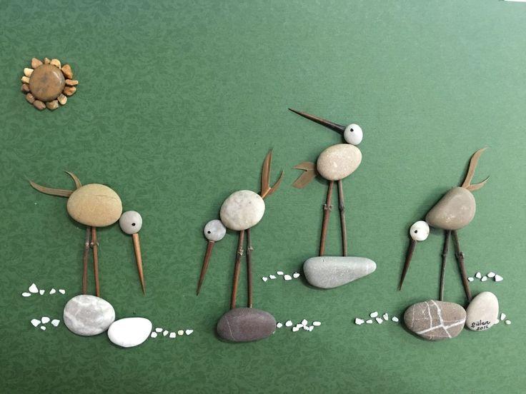 cuadro escena de pájaros con piedras