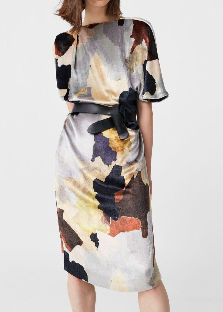 """Mango """"Yves"""" SS16 printed velvet midi dress"""