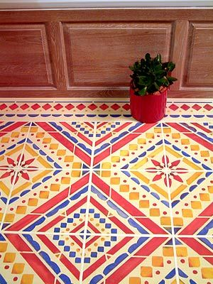Create the look of a real tiled floor or wall with the Large Mediterranean Floor Stencil which captures the stylish, simple geometric patterns of original ceramic Mediterranean tiles. Ideal for floors and walls in hallways, dining areas, bathrooms and conservatories.