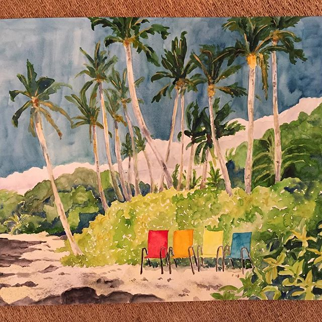 Puako waiting for sunset. Watercolor. Loved the colors of the chairs. Every afternoon when I walk the puako shoreline I imagine myself with a glass of wine watching the green flash sitting in these chairs. #puako #watercolor #chairs #palms #beach #hawaii