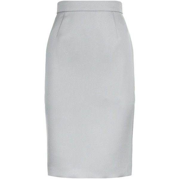 Escada Ravu Skirt ($380) ❤ liked on Polyvore featuring skirts, knee length pencil skirt, grey skirt, gray skirt, pencil skirts and slimming skirts