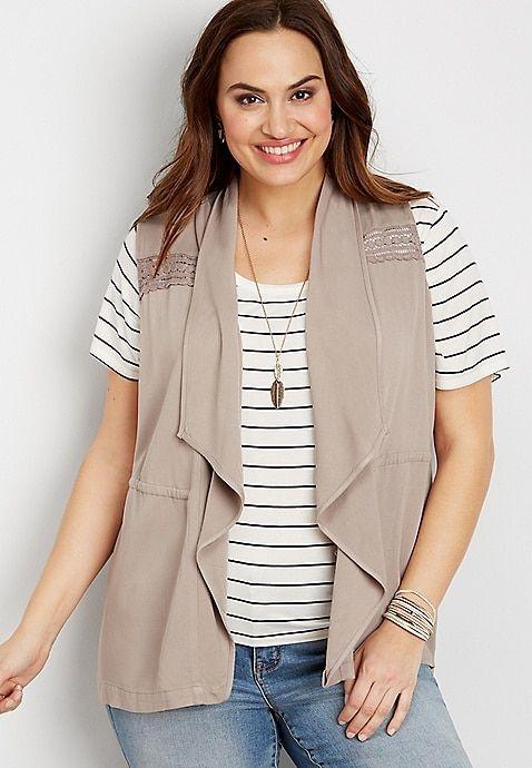 17a40b7005d plus size crocheted open front vest