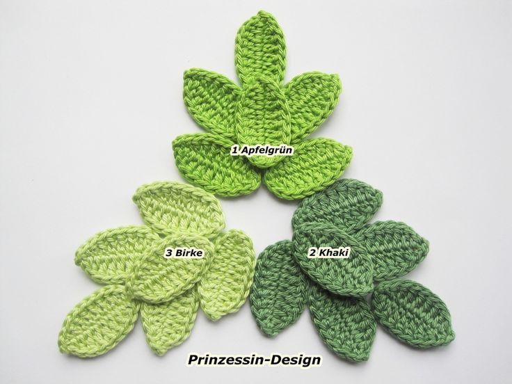 Blätter  von Häkelblumen auf DaWanda.com