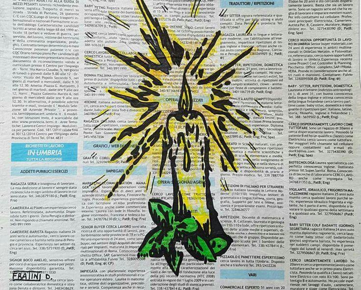 La Candela Acrilico su tela con Giornale 24cmx30cm by Daniele Fratini