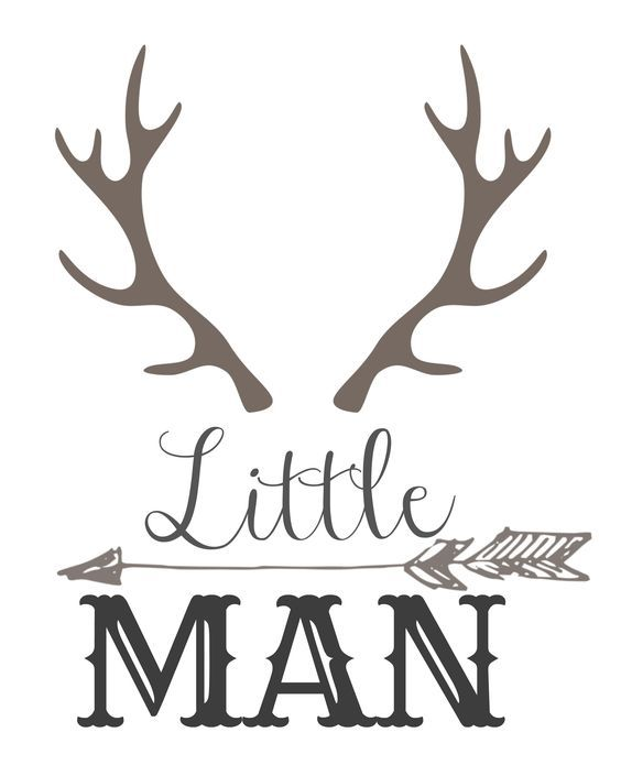 Little Man with horns and an arrow free download load. Print and add to nursery or gallery wall. Rustic and deer horns!