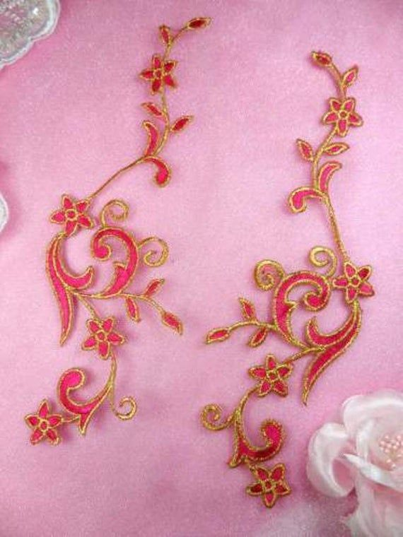 """Embroidered Appliques Gold Metallic Floral Vine Mirror Pair Iron On 9/"""" GB90"""