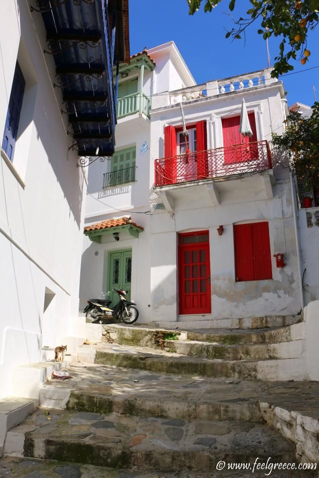 Walking in the old town; photo from Skopelos Town, Skopelos